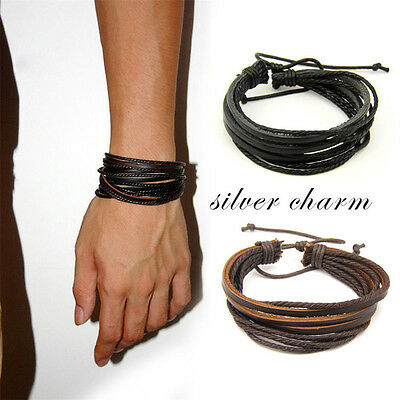 New Fashion Men's  Multilayer PU Leather Wristband Cuff Bracelet Jewelryl BO
