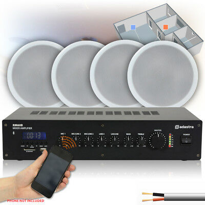 4x Speakers Bluetooth Amplifier 100V Line Multizone Home Install Audio Set Up
