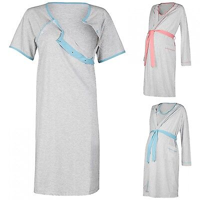 Happy Mama Women's Maternity Hospital Gown Robe Nightie Set Labour & Birth. 767p
