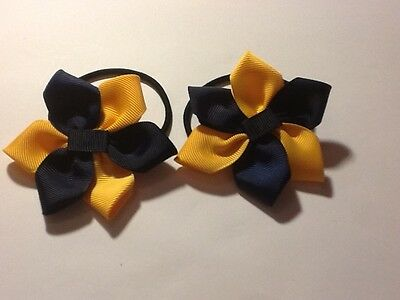 Madelienas Handmade ..6 Petals flower style hair ties / Navy Blue & Yellow -Gold