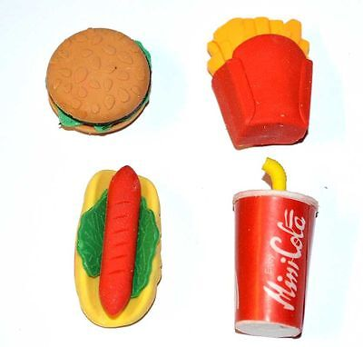 4Pcs Lovely Fast Food Style Rubber Pencil Eraser Students Stationery Toy GB