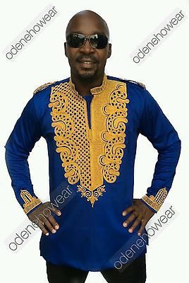 Odeneho Wear Men's Blue Polished Cotton Top/Gold Embroidery. African Clothing