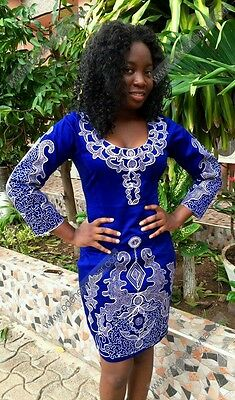 Odeneho Wear Ladies Blue Polished Cotton Dress/White Embroidery.African Clothing
