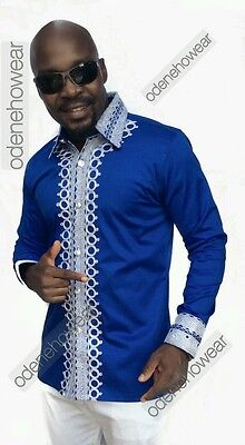 Odeneho Wear Men's Blue Polished Cotton Top/White Embroidery. African Clothing