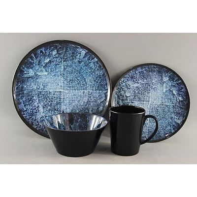 Melamine Acclaim Camping / Caravan Dinner Set 16 Pc With Mug Holder - Blue Rock