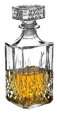 GLASS WHISKEY DECANTER SHERRY BRANDY LIQUER 900 ml DECORATIVE GLASS DRINKS JAR