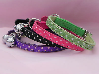 Polka Dot Pet Dog Cat Collar PU Leather Bling  Rhinestone Buckle