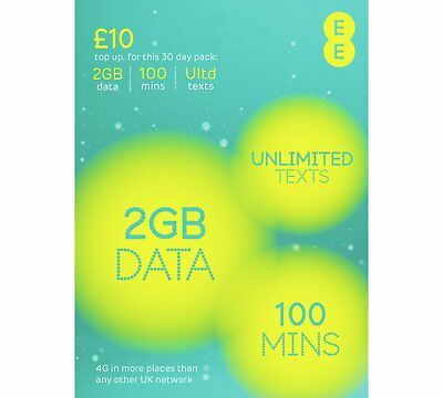 EE 4G Pay As You Go *Nano/Micro/Standard* SIM PAYG £10 Everything Pack