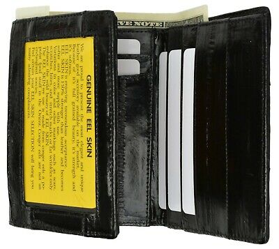 Mens EEL Skin Leather Trifold Id Style Credit Card Holder Black Wallet Id outsid