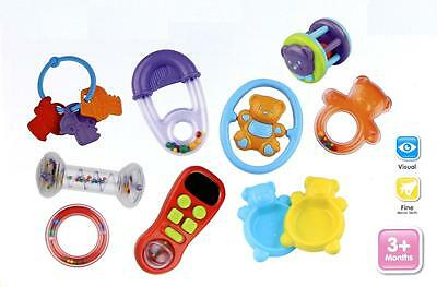 Baby Boy & Girl 10 pc Toy Set  3+ months  -  Baby Rattle - Remote - Key Ring New