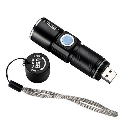 Mini Q5 LED 1000LM USB Rechargeable Zoom Flashlight Torch Lamp Light 3Modes