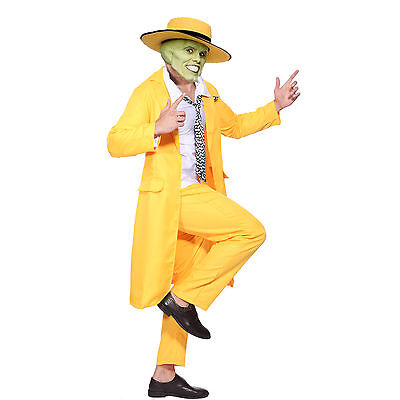 Jim Carrey The Mask Fancy Dress Costume Yellow Gangster Zoot Suit Outfit