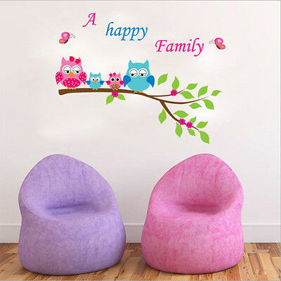 Owl Family Cartoon Removable Wall Stickers For Kids Rooms Decor YXH7