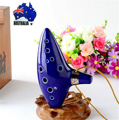 12 Hole Ceramic Alto C Legend of Zelda Ocarina Flute Blue Instrument BC