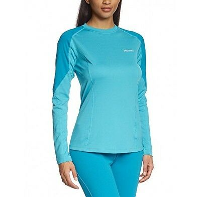 Marmot Womens ThermalClime Pro Longsleeve Baselayer T-shirt - Blue SMALL RRP £40