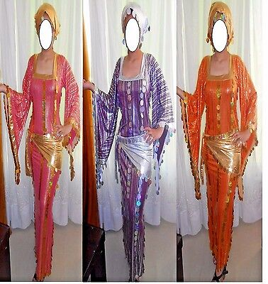 Egyptian Belly Dance Baladi Saidi Galabeya Dancing Dress Costume+2 SCARVES/560/N