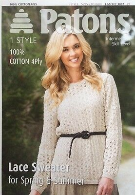 Patons Lace Sweater Spring & Summer Knitting Pattern Leaflet 3887 New Free P&P