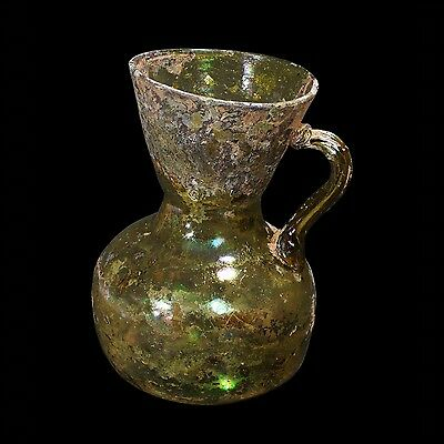 Large Ancient Roman Glass Jug With Olive Green Color