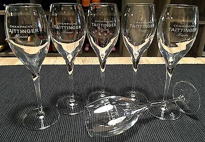 Champagne Taittinger Set of 6 Glasses Beautifully Small Tulip Style, NEW
