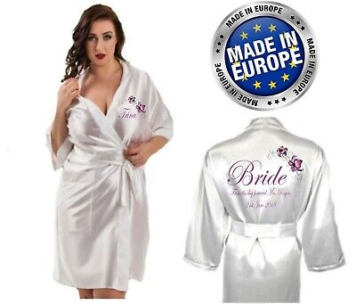 Personalised Flower Satin Wedding Robe / Dressing Gown - Bridal Children's sizes