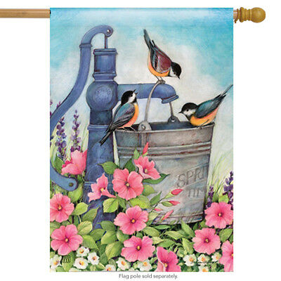 "Birds of Spring House Flag Bird Decorative Floral Mini Banner 28"" x 40"""