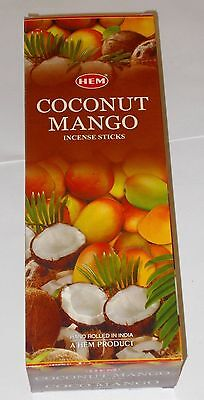 COCONUT MANGO- HEM Incense sticks 6 Hexa packs - 20 sticks each-17344