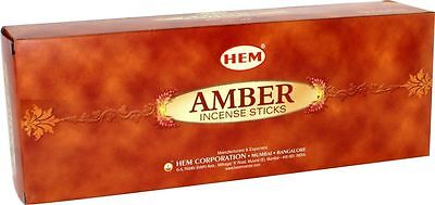 AMBER- HEM Incense sticks 6 Hexa packs - 20 sticks each-01510