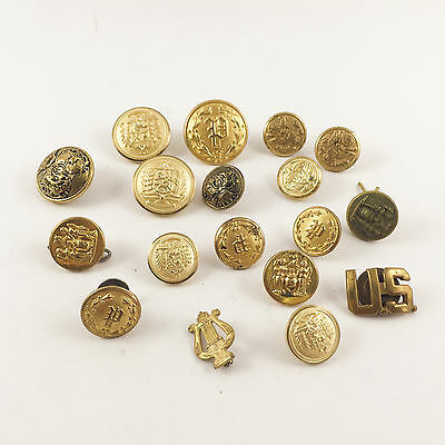 18 Assorted Lot of Antique Vintage Lot Police Uniform Buttons Brass Gold Cops