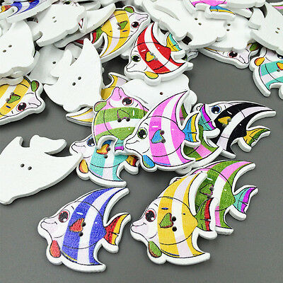 Crafts Fish Wooden Buttons 2Holes Fit Sewing-and Scrapbook 31mm