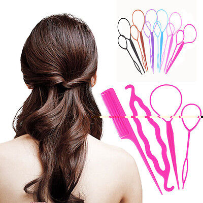 4 Pcs/Set Styling Clip Bun Maker Hair Twist Braid Ponytail Tool Accessories