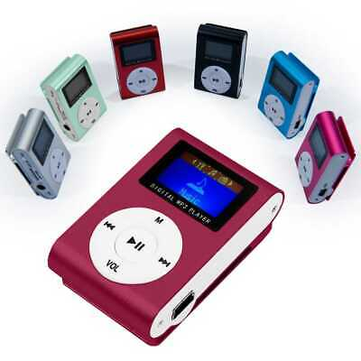 Mini Lettore MP3 Player Clip USB FM Radio LCD Screen Supporta 32GB MicroSD Rosso