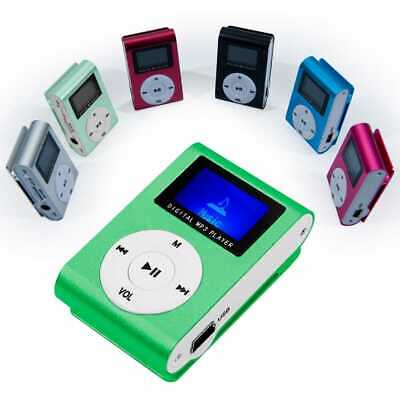 Lettore MP3 Player Mini Clip USB FM Radio LCD Supporta MicroSD 32GB Scheda Verde
