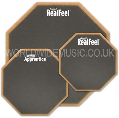 """Evans Real Feel Drum Practice Pads with choice 6"""" 7"""" and 12"""" sizes and types"""