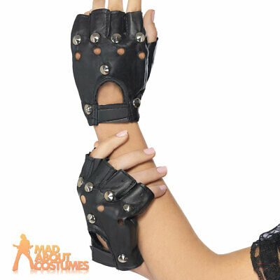 Adult Punk Gloves With Studs Black Leather 1980s Rocker Fancy Dress Accessory