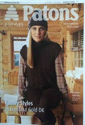 Patons Family 2 Styles Roll Neck Knitting Pattern Leaflet 3873 New Free P&P