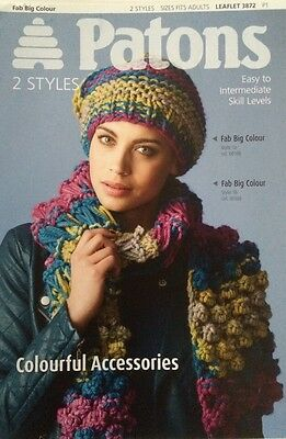 Patons Big Fab Colourful Accessories Knitting Pattern Leaflet 3872 New Free P&P