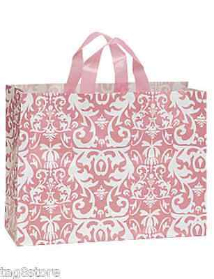 100 Plastic Shopping Bags DAMASK Pink Frosted LARGE 16x6x12 Vogue Retail Gift