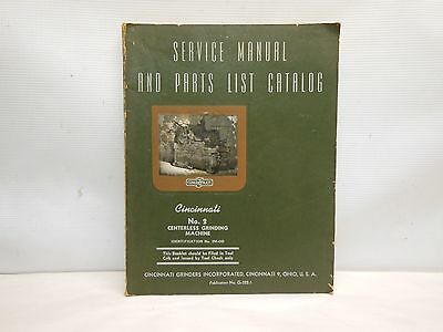 Vtg 1944 Cincinnati No. 2 Centerless Grinding Machine Service Manual Catalog