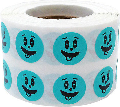 Teal Silly Goofy Face Circle Stickers, 1/2 Inch Round, 1000 Labels on a Roll