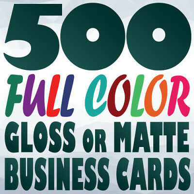 500 Full Color Custom BUSINESS CARD Printing on a 14pt Gloss or Matte Finish