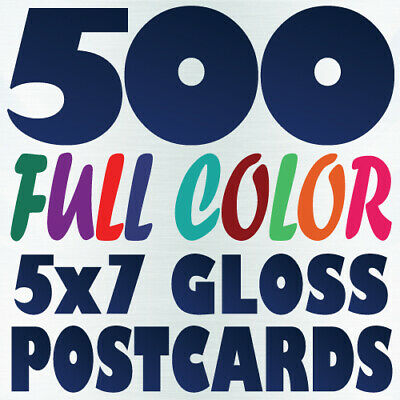 500 5x7 Full Color Custom POSTCARD Printing on 16pt w/ Gloss or Matte Finish