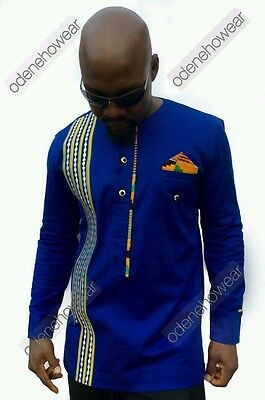 Odeneho Wear Men's Polished Cotton Top/Embroidery And Kente. African Clothing.