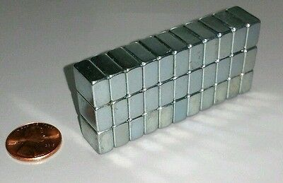 """30 Neodymium Block Magnets Large N50 Super Strong Rare Earth 1/2"""" × 3/8"""" × 1/4"""""""