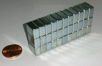 "30 Neodymium Block Magnets Large N50 Super Strong Rare Earth 1/2"" × 3/8"" × 1/4"""