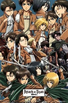 ATTACK ON TITAN COLLAGE POSTER 22x34 FUNIMATION JAPANESE ANIME COMIC FREE SHIP
