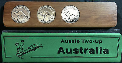 1966 Aussie Two-Up Game set w/repro Australian pennies. Original coins available