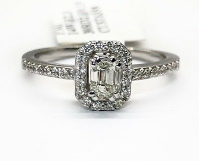 14k white gold 0.56Ct VVS2 natural emerald cut diamond engagement ring