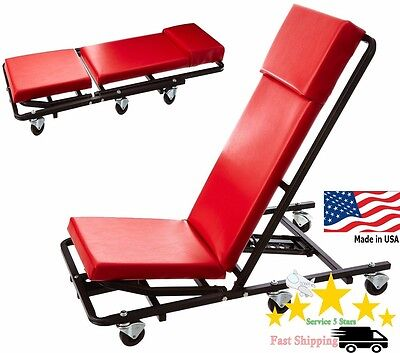 NEW Professional 44 inch Heavy Duty Either End Adjustable Creeper Car Red - USA