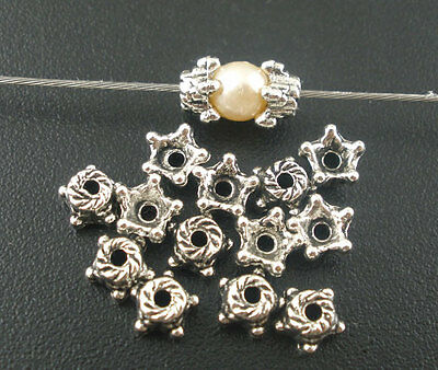 50pcs SILVER Star Spacer Bead Caps - Bright Silver 5x2mm
