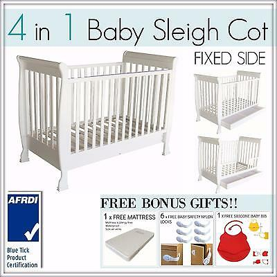 BRAND NEW 4 In 1 White Fixed side Baby Toddler Wooden Sleigh Cot Bed Mattress